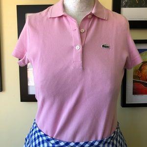 LACOSTE - Sz. 38 Pale Pink Knit Polo Shirt